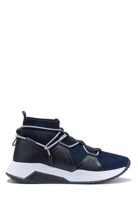 Chunky running-style trainers with knitted sock, Dark Blue