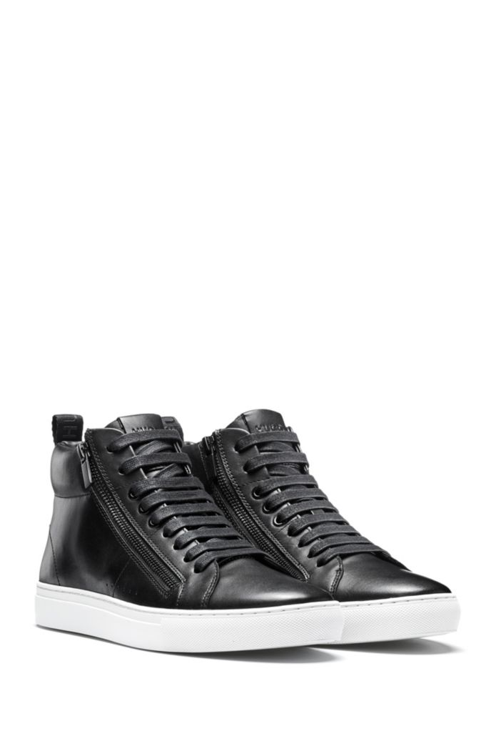 High-top trainers in nappa leather with side zips