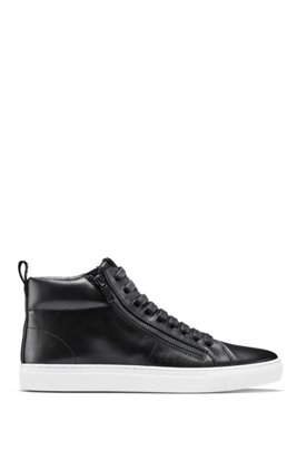 High-top trainers in nappa leather with side zips, Black