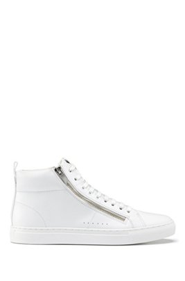 High-top trainers in nappa leather with side zips, White