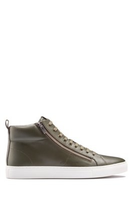 High-top trainers in nappa leather with side zips, Dark Green