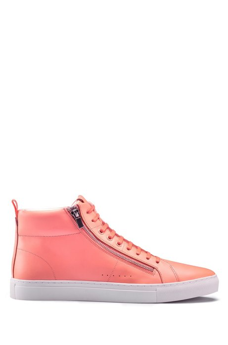 High-top trainers in nappa leather with side zips, Pink