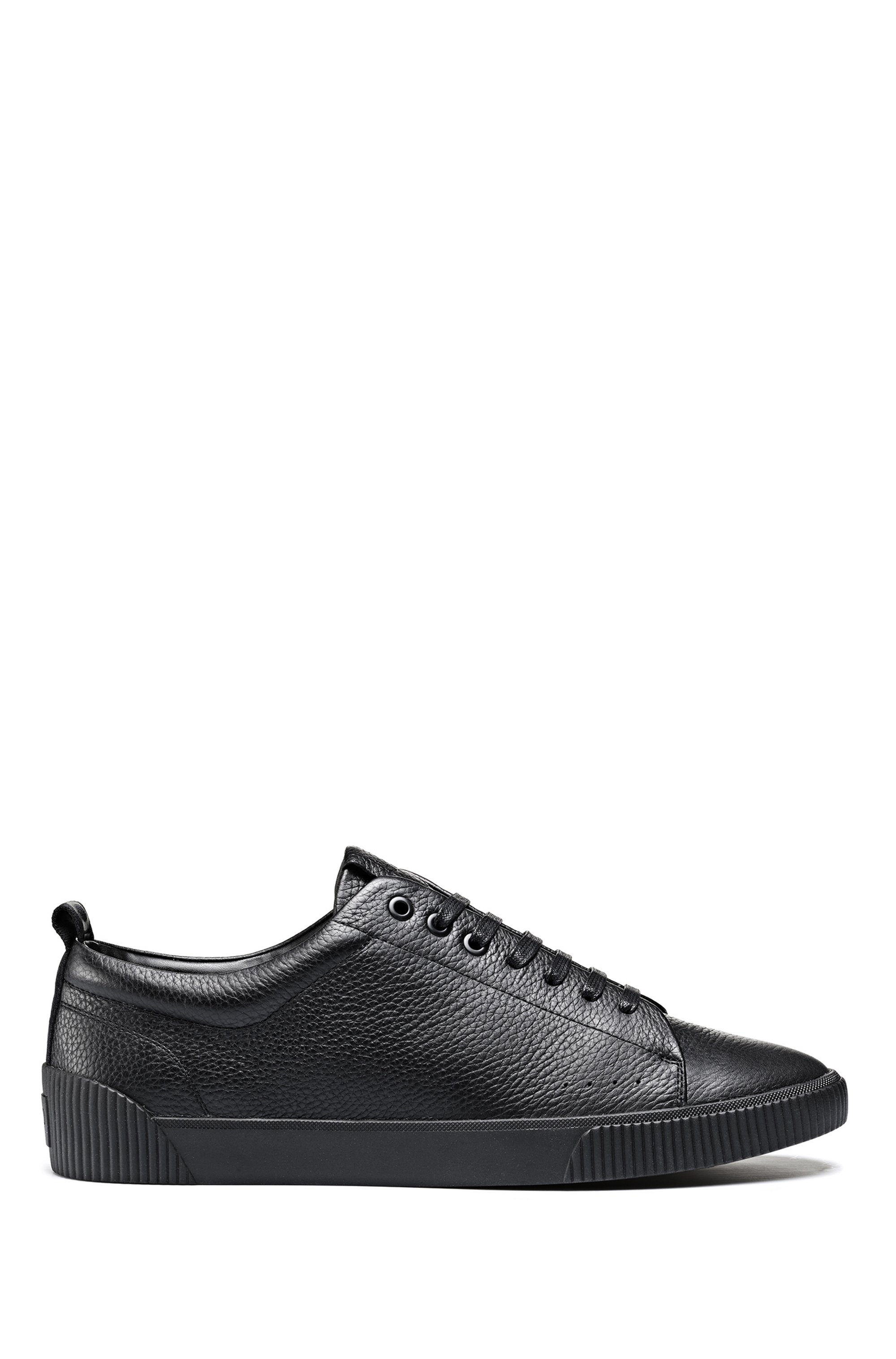 Tennis-inspired grainy-leather trainers with logo-jacquard tape, Black