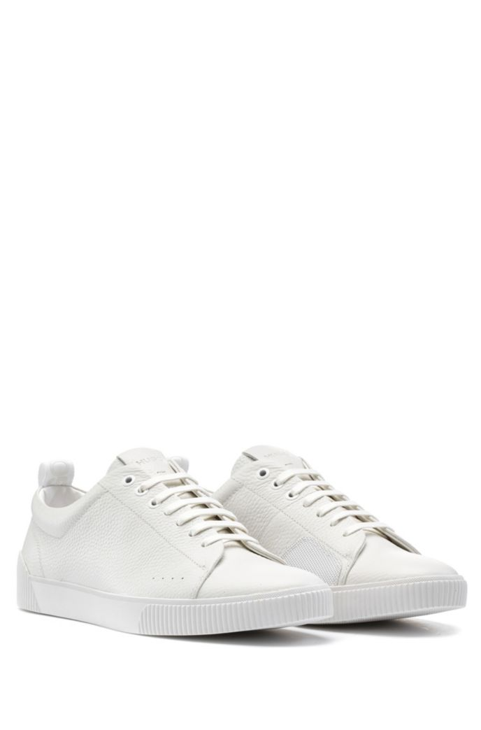 Tennis-inspired grainy-leather trainers with logo-jacquard tape