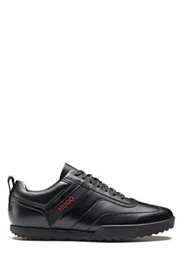 Low-top trainers in nappa leather, Black