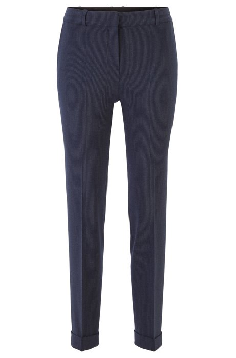 Relaxed-fit trousers in pinstripe Italian fabric, Patterned