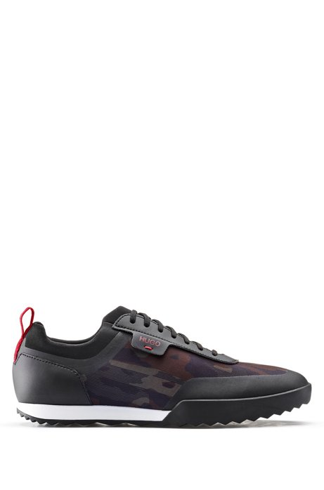 Camouflage-print trainers with thermo-bonded details, Patterned