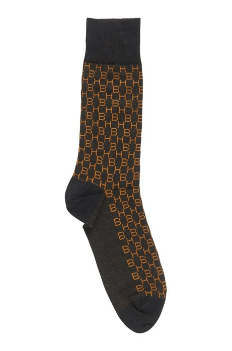 Monogram socks in cotton with stretch, Anthracite