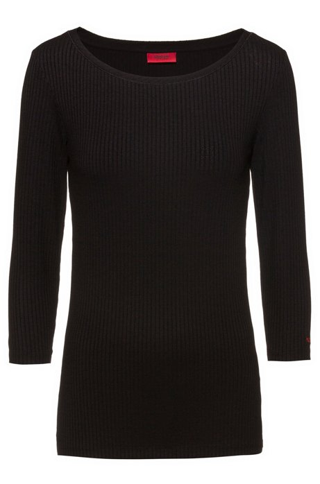 Ribbed jersey top with boat neckline, Black
