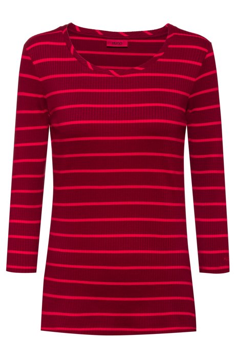 Slim-fit jersey top with soft ribbing, Pink