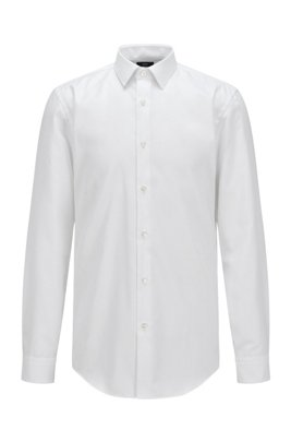 Slim-fit shirt in cotton with Fresh Active finish, White