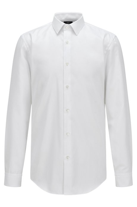 Chemise Slim Fit en coton pinpoint à la finition Fresh Active, Blanc