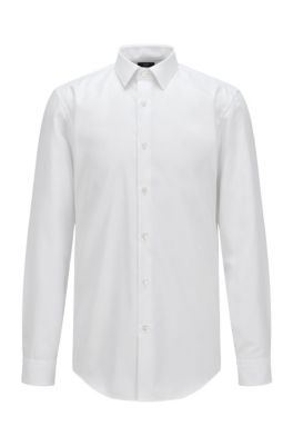 Slim-Fit Hemd aus Baumwolle mit Fresh-Active-Finish, Weiß