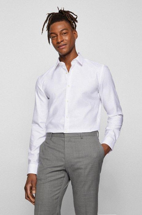 Camicia slim fit in cotone con finitura Fresh Active, Bianco