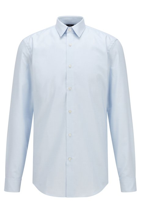 Slim-fit shirt in pinpoint cotton with Fresh Active finish, Light Blue