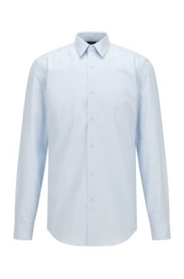 Chemise Slim Fit en coton à la finition Fresh Active, bleu clair