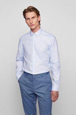 Slim-Fit Hemd aus Baumwolle mit Fresh-Active-Finish, Hellblau