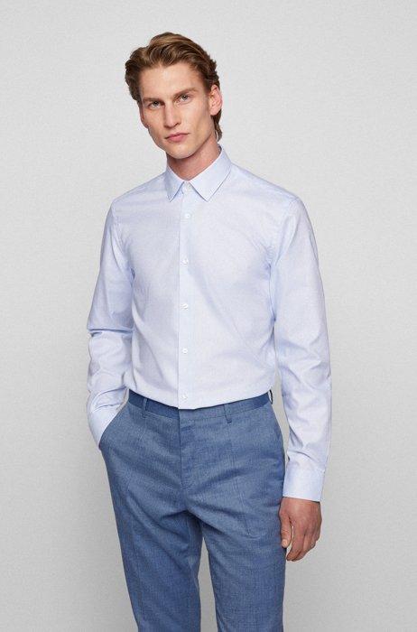 Chemise Slim Fit en coton à la finition Fresh Active, bleu clair