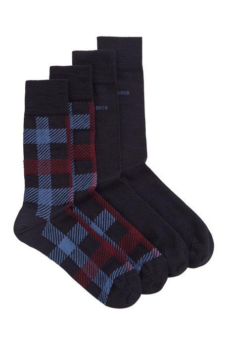 Two-pack of regular-length socks in a wool blend, Dark Blue