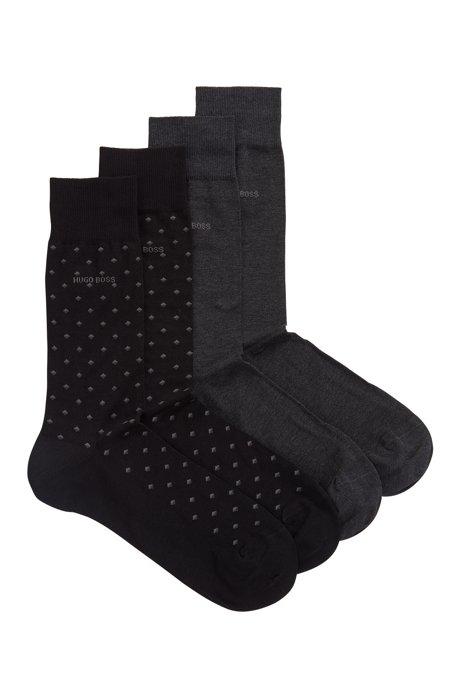 Lot de deux paires de chaussettes en coton mélangé mercerisé, Noir
