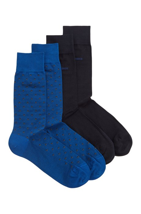 Two-pack of socks in a mercerised cotton blend, Open Blue