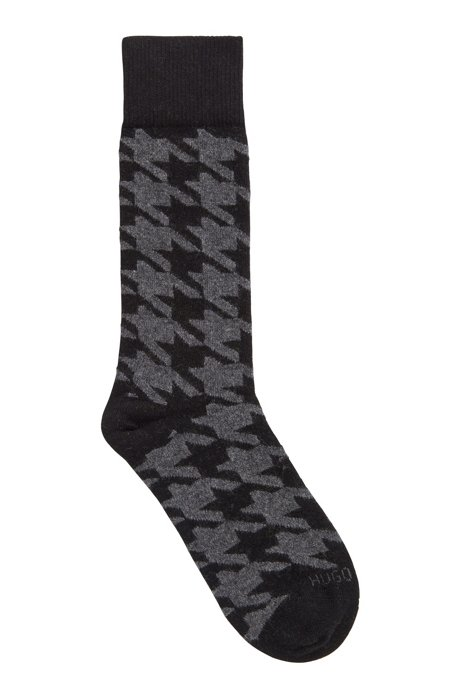 Patterned boot socks in a cashmere blend, Anthracite