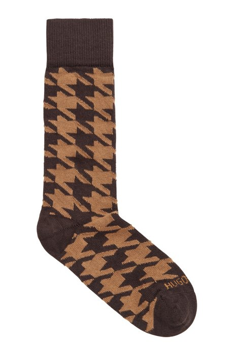 Patterned boot socks in a cashmere blend, Dark Brown