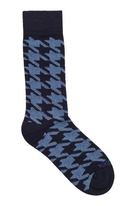 Patterned boot socks in a cashmere blend, Dark Blue