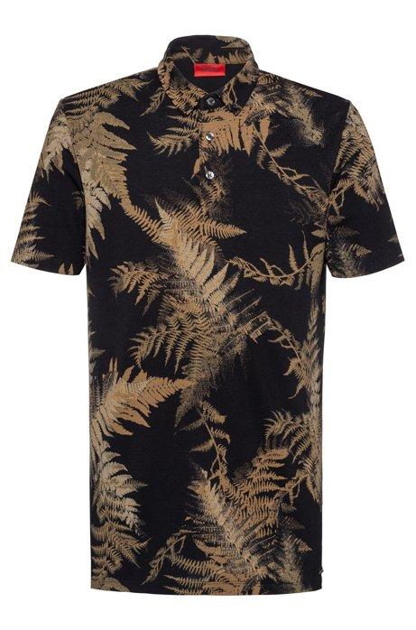 Slim-fit polo shirt in mercerised piqué, Patterned