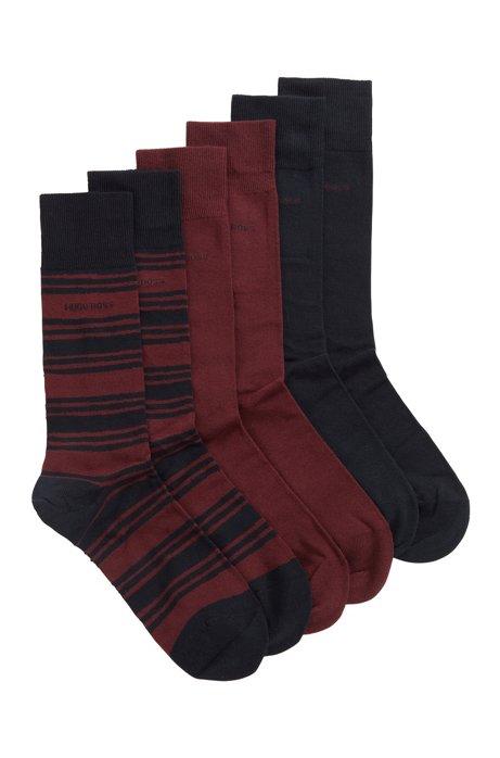 Gift-boxed three-pack of regular-length cotton-blend socks, Dark Blue