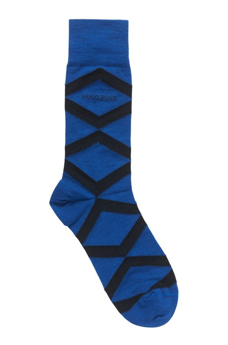 Regular-length socks with modern argyle pattern, Open Blue