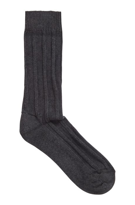 Cotton-blend boot socks with ribbed structure, Anthracite