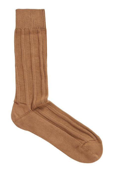 Cotton-blend boot socks with ribbed structure, Beige