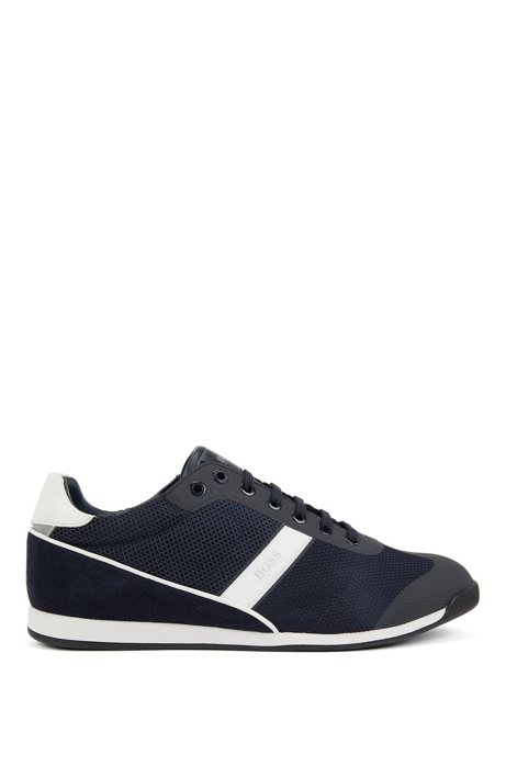 Low-profile trainers in mesh with suede accents, Dark Blue