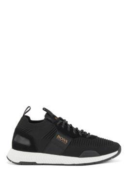 Hardloop-geïnspireerde sneakers met gebreide sok, Zwart
