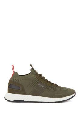 Hardloop-geïnspireerde sneakers met gebreide sok, Donkergroen