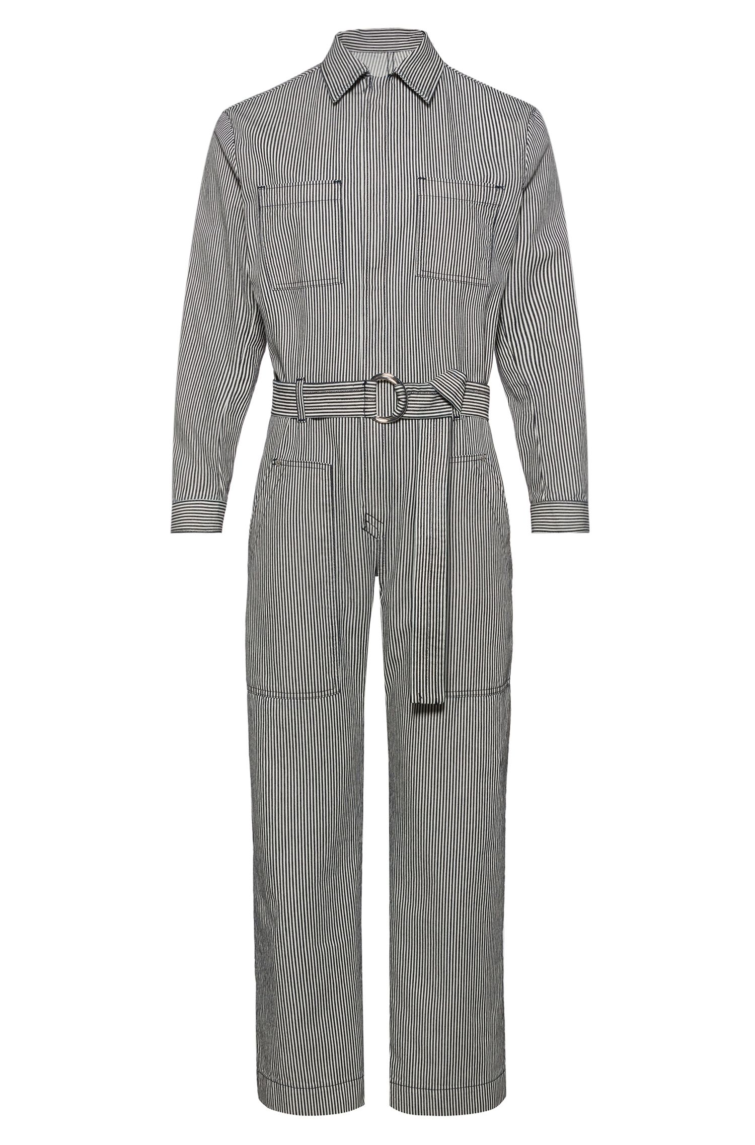 Tuta jumpsuit relaxed fit in denim a righe con tasche, A disegni