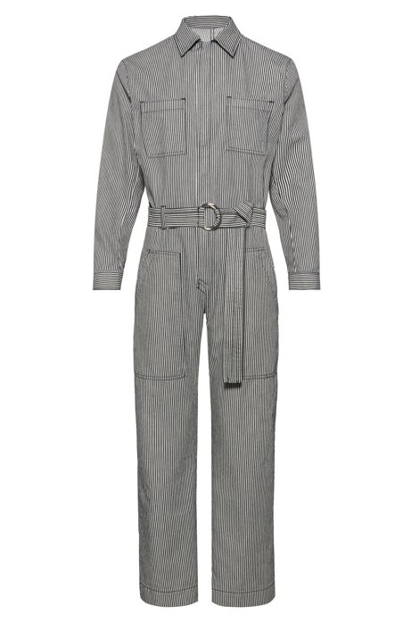 Relaxed-fit jumpsuit in striped denim with pocket detailing, Patterned