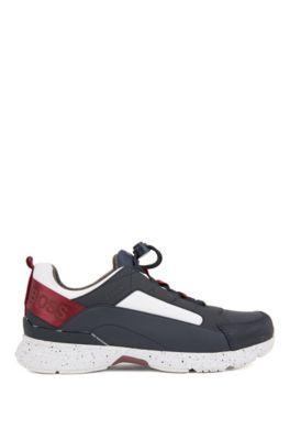 Sneakers aus Material-Mix mit dicker EVA-Sohle, Blau