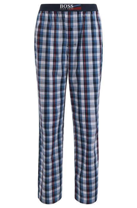 Pyjama trousers in checked cotton poplin with seasonal logo, Blue