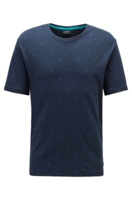 Pyjama-Shirt aus Interlock-Baumwolle mit Monogramm, Dunkelblau