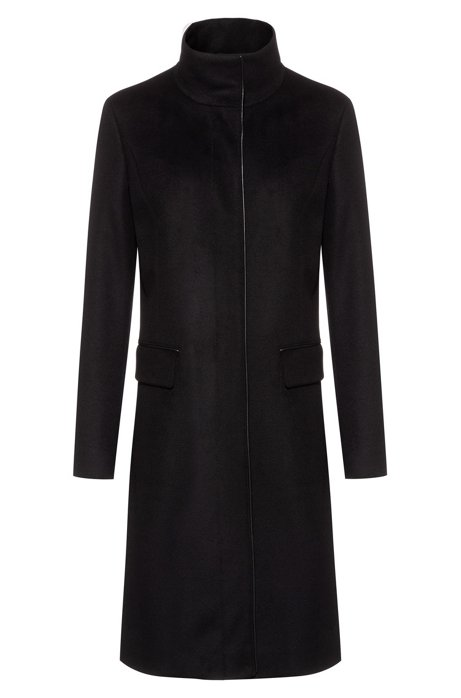 Fully lined coat in a wool blend with cashmere, Black