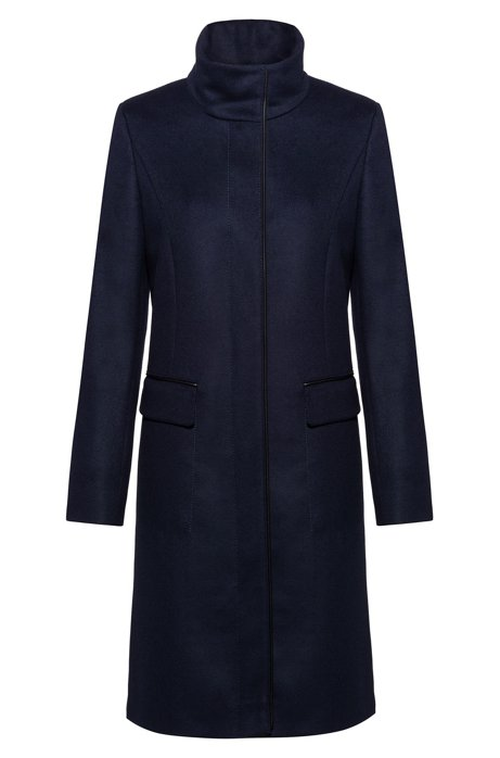 Fully lined coat in a wool blend with cashmere, Dark Blue