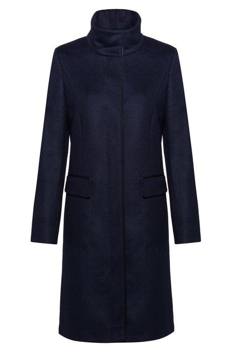 Manteau doublé, en laine mélangée à teneur en cachemire, Bleu foncé