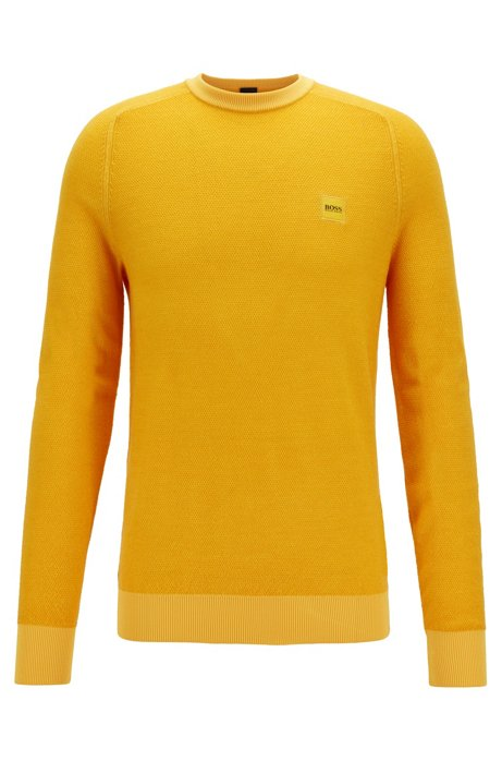 Lightweight sweater in virgin wool with rice-corn structure, Yellow