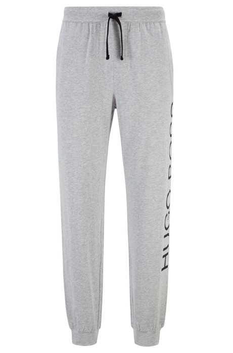 Pyjama trousers in stretch-cotton jersey with cut logo, Grey