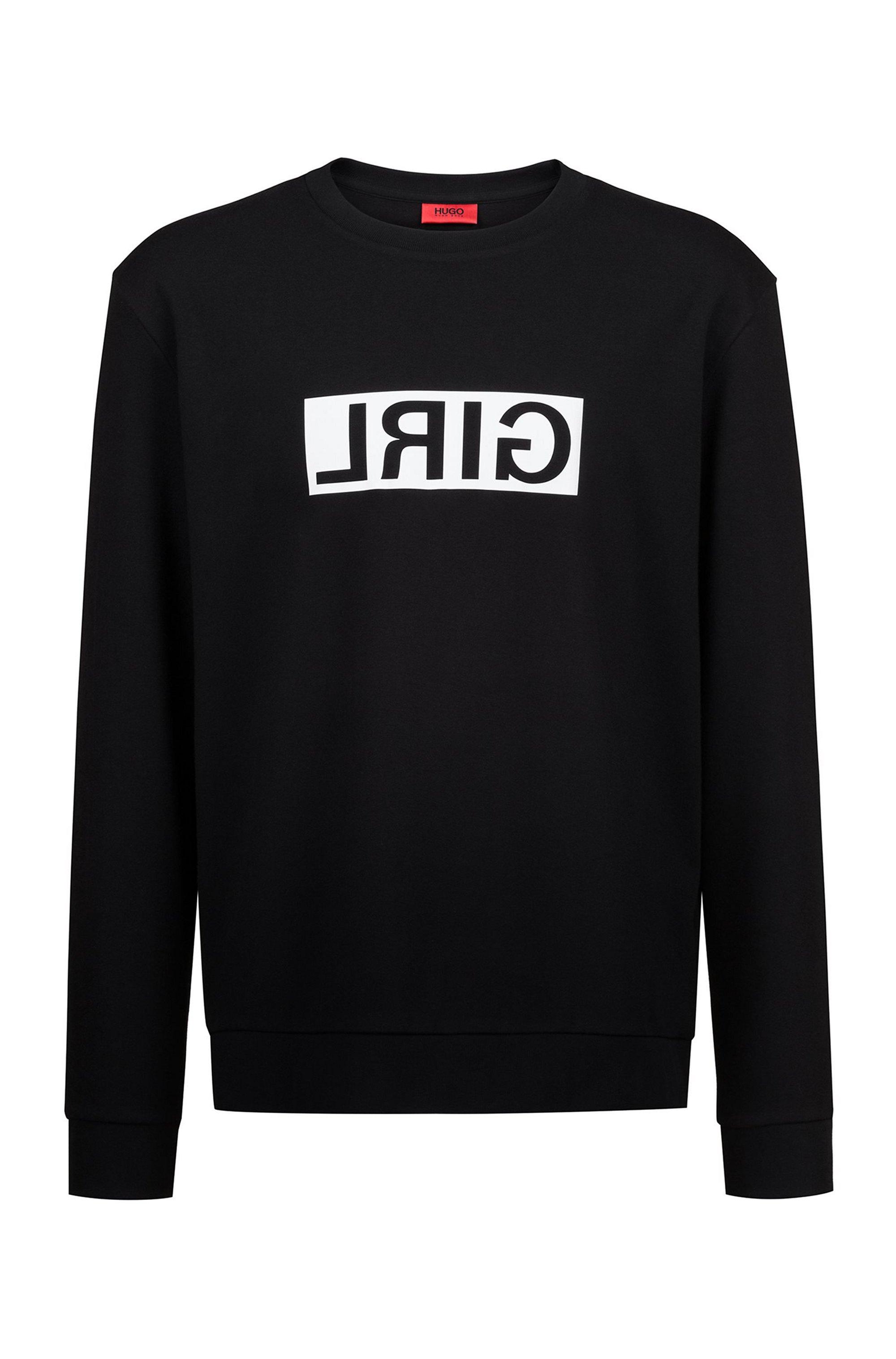 Unisex cotton sweatshirt with reversed personalisation, Black