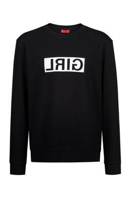 Unisex-Sweatshirt aus Baumwolle mit spiegelverkehrter Personalisierung, Schwarz