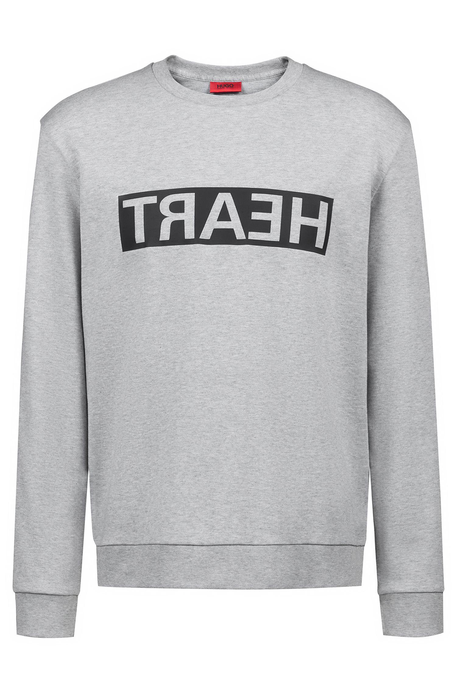 Unisex cotton sweatshirt with reversed personalisation, Light Grey