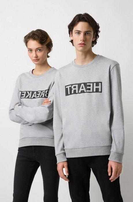 Unisex-Sweatshirt aus Baumwolle mit spiegelverkehrter Personalisierung, Hellgrau